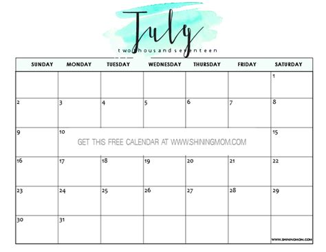 pretty calendar template free printable july 2017 calendar 12 pretty designs