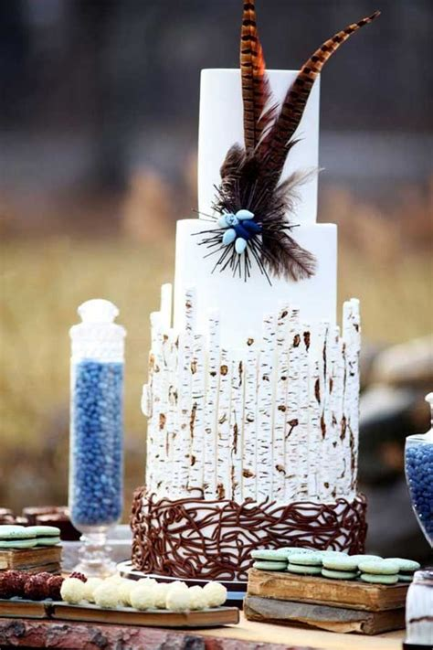 birch bark cake feather wedding rustic cakes pinterest wedding bird feathers and cakes