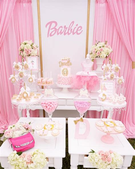 barbie themed birthday party pink glam barbie birthday party on kara s party ideas