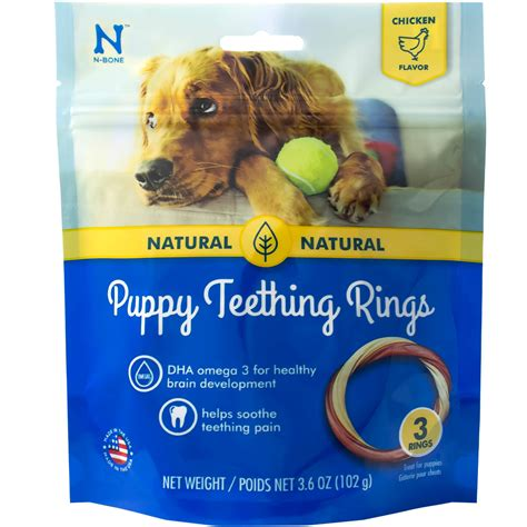 puppy teething ring n bone 174 puppy teething ring chicken flavor 3 pack 3 6 oz healthypets