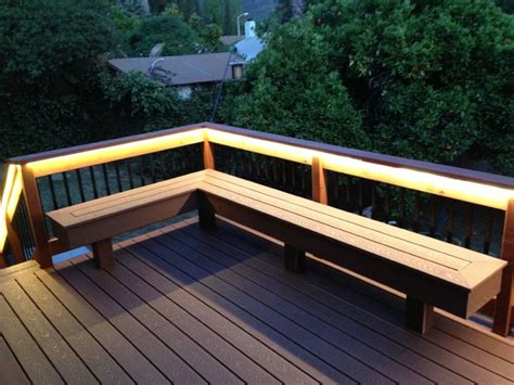 built in bench on deck deck with bench composite redwood contemporary