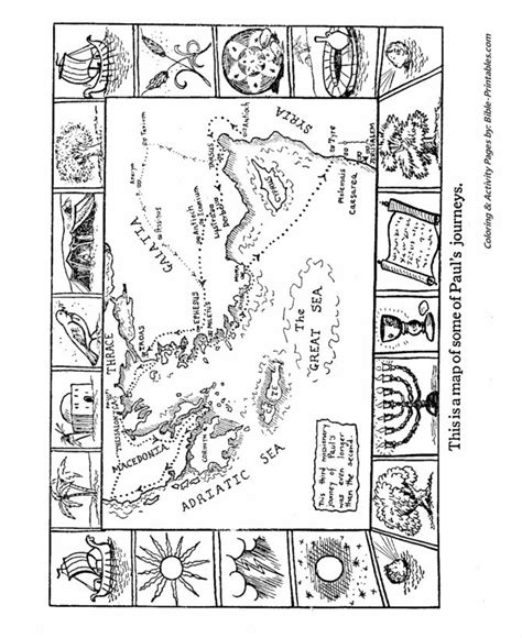 bible map coloring page map of paul s journeys crafts for sunday school lessons