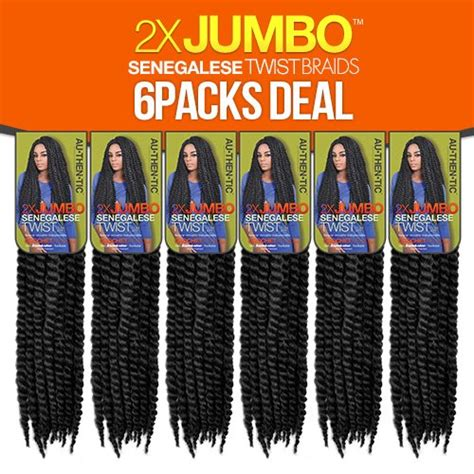 how many pack of hair needed for senegalese authentic synthetic hair crochet braids 2x jumbo