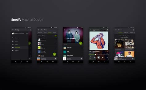 homepage design concepts spotify material design concept sketch resource for