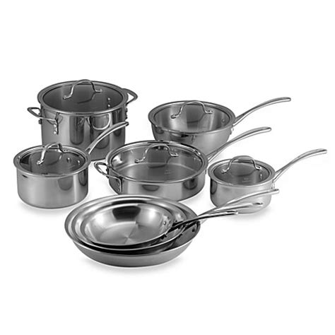bed bath and beyond cookware calphalon 174 tri ply stainless steel 13 piece cookware set