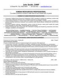 human resource professional resume sle template