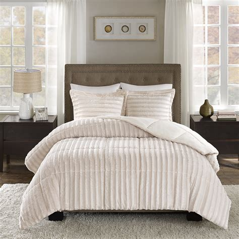 madison park duke faux fur comforter mini set