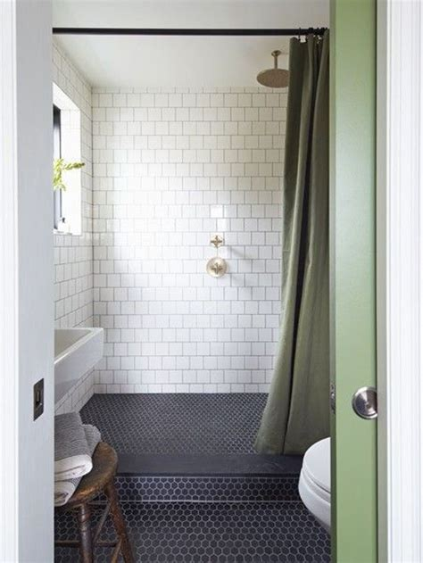 small bathroom  black hexagon bathroom floor tile