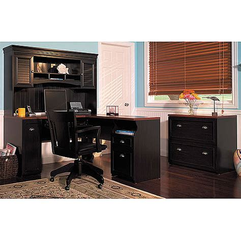 Bush Fairview Collection L Shaped Desk Bush Fairview Collection L Shaped Desk With Hutch Antique Black And Cherry Furniture Walmart