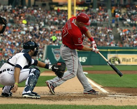 mike trout swing mike trout in los angeles angels of anaheim v detroit