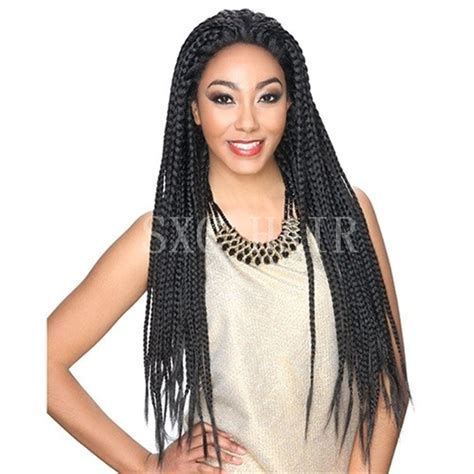 african box braided front lace wigs synthetic lace front large box braid braids african