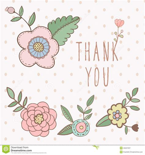 Illustrator Thank You Card Template by Thank You Card Floral With Text And Flowers Stock Vector