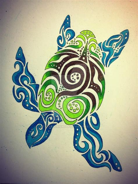 tribal sea turtle by therebornwolf on deviantart