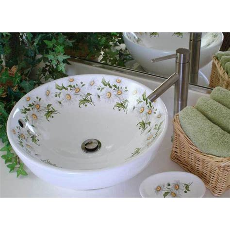 floral bathroom sinks daisy painted vessel sink