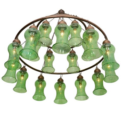 Green Chandelier Lighting Handblown Chandelier With Green Bell Shaped Glass At 1stdibs