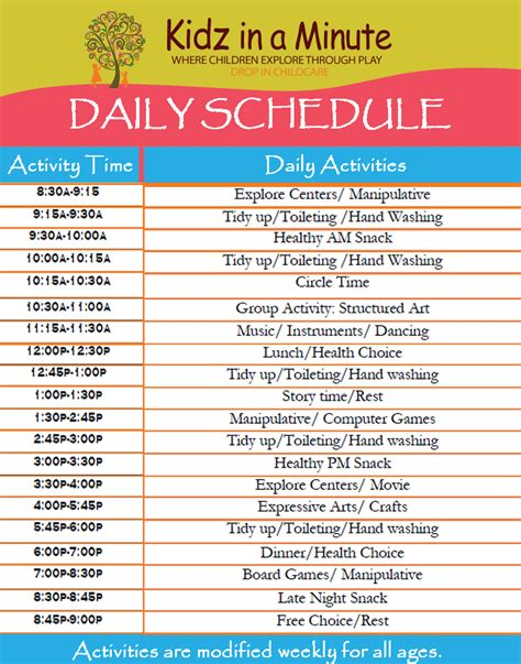 child care daily routine template best photos of preschool daily schedule template free