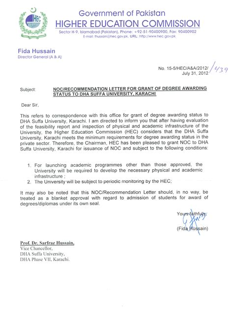 Official Letter Format Pakistan Higher Education Commission Hec Recognizes Dha Suffa