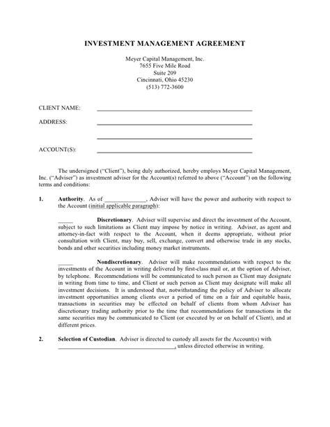 asset management agreement template investment management agreement