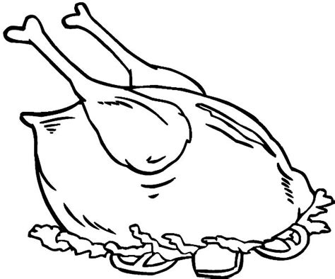 coloring page of chicken leg cooked chicken outline