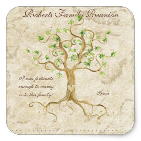 tree name tags swirl tree roots antiqued family reunion name tags square