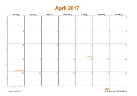 Kalender 2017 April April 2017 Kalender Mit Feiertagen