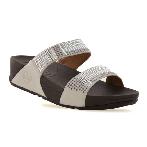 fitflop chada sandal fitflop womens aztec chada slide sandals white