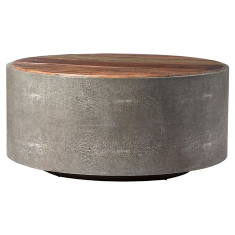round gray coffee table dieter rustic modern grey faux shagreen wood round coffee