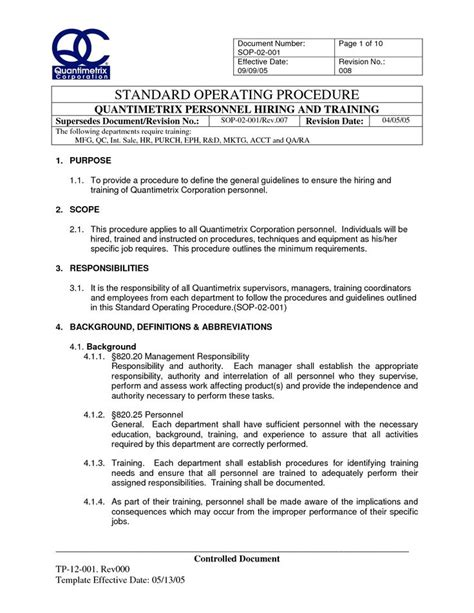 best standard operating procedure template standard operating procedure template beepmunk