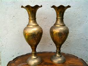 vintage indian pair of brass vases shop