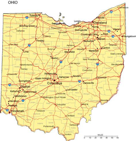 ohio map with major cities ohio map and ohio satellite images