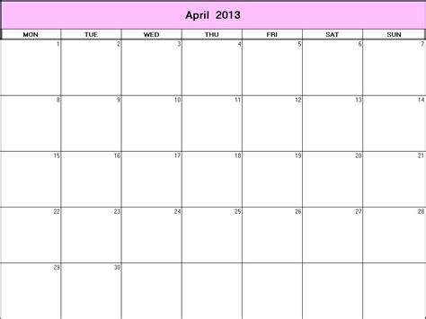april 2013 printable blank calendar calendarprintables net