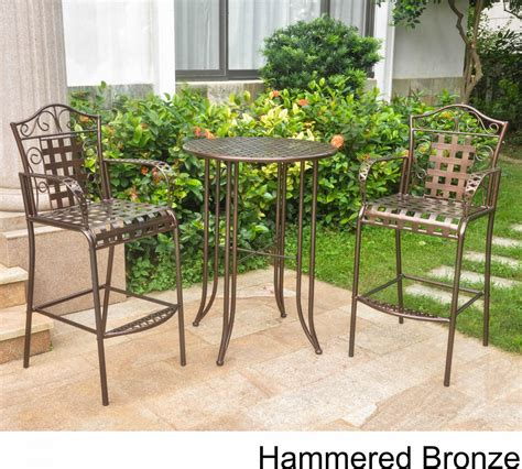 Wrought Iron Bistro Set With Bar Table And Two Barstools Wrought Iron Patio Table Set