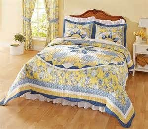 Coverlet Sets Patchwork Quilted Bedspread French Star Blue Yellow This