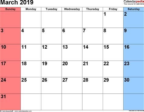 Calendar 2019 March March 2019 Calendars For Word Excel Pdf