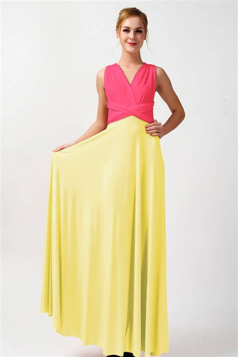 bright color dresses pink and bright yellow two tone infinity bridesmaid