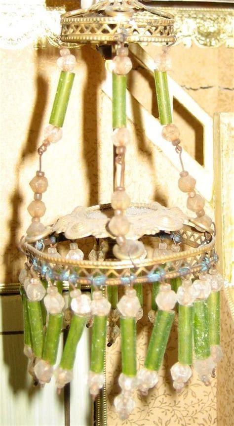 green beaded chandelier antique german miniature green beaded chandelier from