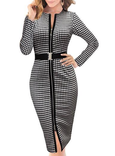 Plaid Sleeve Midi Dress plaid midi dress stunning black white sleeve