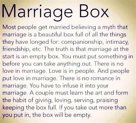 Marriage Relationship The Marriage Box Relationships Are About What We Put