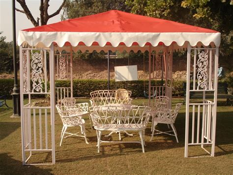 White Fabric Gazebo Furniture Chandigarh Panchkula Haryana Trendz Wooden