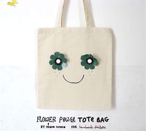 Handmade Bag Design - diy flower power tote bag handmade
