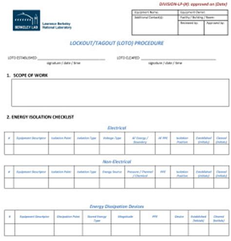 loto program template forms