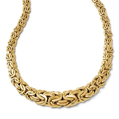 14k gold graduated byzantine necklace made in italy