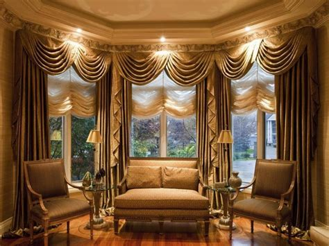furniture living room with window treatment and brown curtain plus valance combined brown