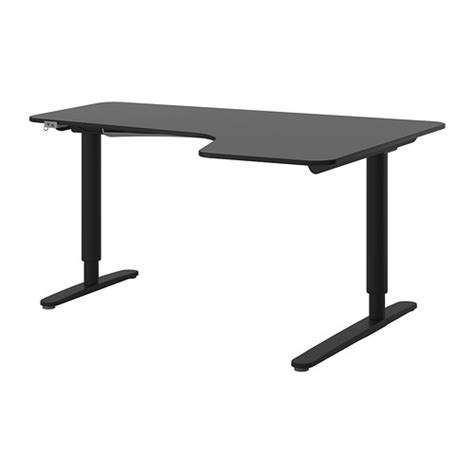 Ikea Corner Desk Black Bekant Corner Desk Right Sit Stand Black Brown Black Ikea
