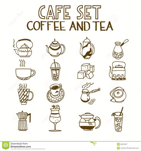 doodle cafe cafe doodle set coffee and tea morning breakfast stock