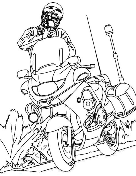 police bike free colouring pages