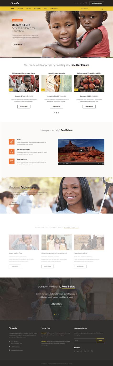 templates for ngo websites charity nonprofit ngo fundraising html template on behance