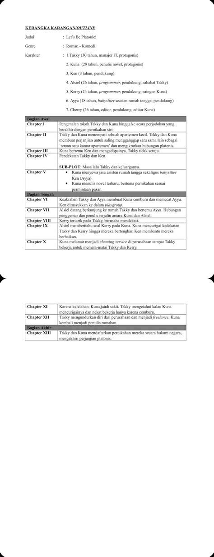 Contoh Kerangka Karangan (Outline) Novel