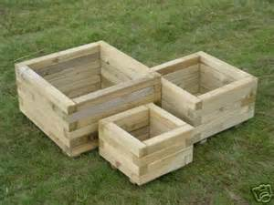 Garden Tubs And Planters Set Of 3 Square Shaped Wooden Tubs Garden Planters Ebay