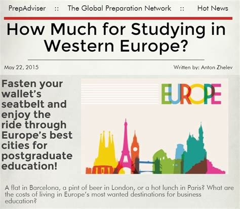 How Much Is An Mba In Europe by Living Costs In Western Europe Study The